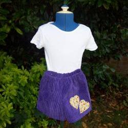 Girls purple cord heart shorts